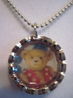 Patriotic Teddy Bear Mini bottle cap necklace