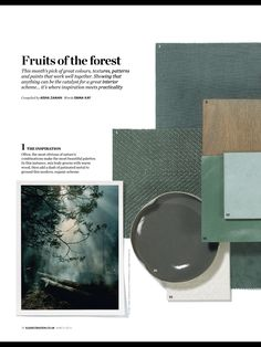 Styling colour trends, moodboard greens and woods. Nature inspired materials. #colourtrends #green #BRABBU
