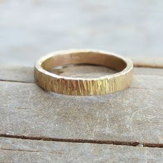 3mm Wide 14k Wood Grain Wedding Band for Men or by brightsmith, $375.00