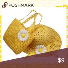 Daisy Flower Straw Sun Hat Set Daisy flower straw sun hat with matching bag, for ages 2-6 Accessories Bags