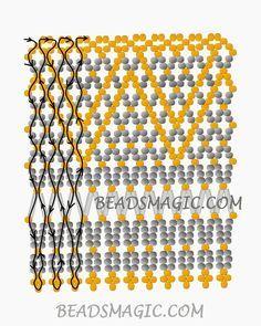 Free pattern for beaded necklace Dana U need: seed beads bugle beads Diy Necklace Patterns, Beaded Earrings Patterns, Beaded Jewelry Designs, Beaded Necklaces, Free Beading Tutorials, Beading Patterns Free, Seed Bead Patterns, Free Pattern, Diy Seed Bead Earrings