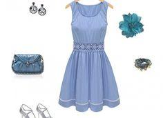 Retro Round Collar Petite Summer Dress White Blue