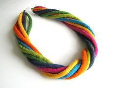 Felted necklace collar hand felted  rainbow necklace felt, colourful