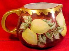 Antique Victorian Limoges Porcelain Hand Painted Cider Pitcher Lemons Gold L163 | eBay
