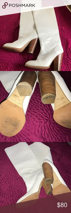 Marc Jacobs Boots White cracked leather designer Marc Jacobs boots.  Excellent condition! Marc Jacobs Shoes Heeled Boots