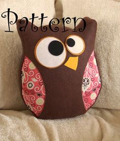 Owl Pattern PDF -Hooter the Owl  Plush Pillow PDF Tutorial How to DIY epattern Halloween. $4.99, via Etsy.