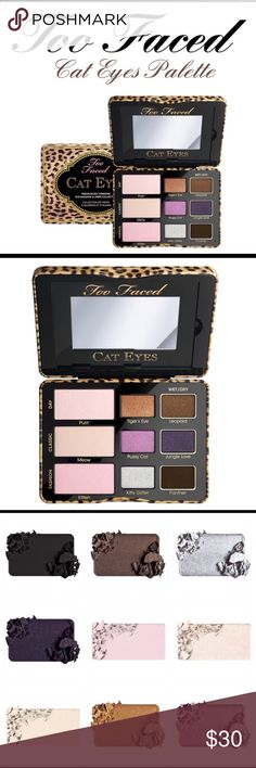 Too faced The timeless Cat Eye just got sexier. From ancient Egypt to the mod '60s and punk '80s to today, it's always been an iconic beauty essential. This classic has been updated with nine matte, shimmer and glitter textures in warm and cool tones. Included are three wet-and-dry formulas for intense precision lining and a perfect wing tip. This Cat Eye Collection comes with our signature Glamour Guide with three beauty looks to get you started. Too Faced Makeup Eyeshadow