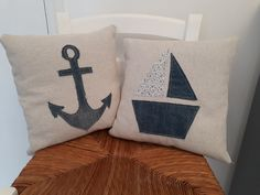 Hand made nautical themed cushions. Available to purchase from my Etsy The Painted Shack Store Upcycled Furniture, Painted Furniture, Nautical Theme, Shabby Chic, Cushions, Hand Painted, Colours, Throw Pillows, Trending Outfits