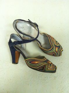 1940s Cord and Suede Shoes 40s Navy Blue by LostnFoundVintage, $125.00