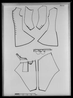 1710-tal. Bildnummer A_2422, mönster. Gäller väst med inventarienummer 31176, bildarkivet Livrustkammaren. Väst/ärmväst/rock, byxor. Pattern.