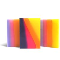 DIY Soap Making Recipe - Fluorescent Layered Soap. Each vibrant layer in the handmade melt and pour soap recipe is scented with it's own fruity fragrance.