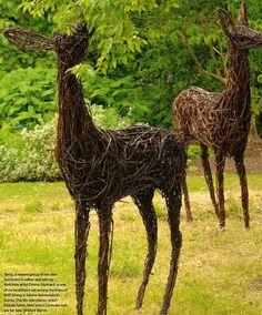 willow and wire roe deer Outdoor Sculpture, Outdoor Art, Sculpture Art, Outdoor Gardens, Garden Sculpture, Lawn And Garden, Garden Art, Chicken Wire Sculpture, Willow Weaving