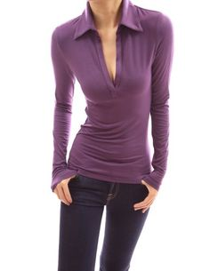 PattyBoutik Polo Collar V Neck Stretch Pullover Casual Blouse Top (Purple S) PattyBoutik http://www.amazon.com/dp/B00EK5OBUG/ref=cm_sw_r_pi_dp_RD0lub19ZR046