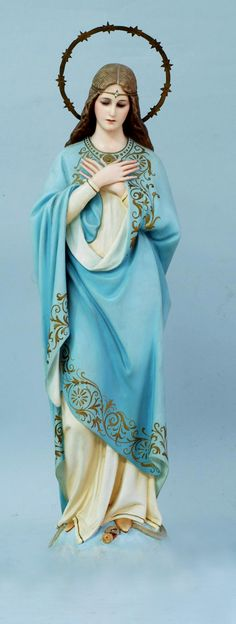 Lovely statue, an aspect of Our Lady of Grace.  Her folded hands over her heart makes this one  unique.