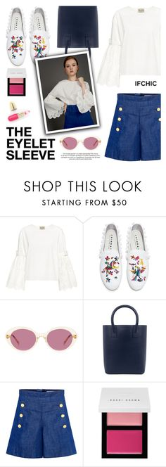 """EYELET LACE DETAIL: THE EYELET SLEEVE"" by ifchic ❤ liked on Polyvore featuring Sea, New York, Joshua's, Oliver Peoples, Sensi Studio, CO, Bobbi Brown Cosmetics, Winky Lux and contemporary"