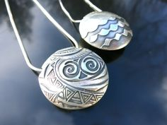 Lentil beads in fine silver metal clay