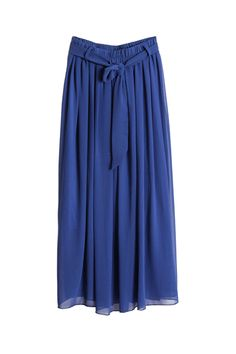 Self-tie Belt Blue Longline Skirt