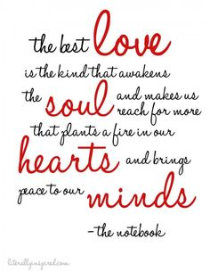 The best love is one that awakens the soul and makes us reach for more that plants a fire in our hearts and brings peace to our minds.  The Notebook