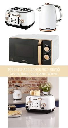 Tower Kitchen Appliance Retro Stylish Set - Rose Gold & White, Manual 20 Litre Microwave, Rose Gold & White 1.7 Litre Jug Bottega Kettle & Rose Gold & White Bottega 4 Slice Toaster