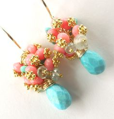 Sleeping Beauty Turquoise and Coral Earrings Wire Wrapped Cluster Gemstone Beaded Handcrafted Gold Earrings