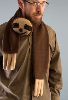 This three-toed sloth scarf is amazing.