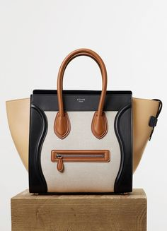 Spring / Summer Runway 2015 collections - Handbags | CÉLINE MINI LUGGAGE HANDBAG IN NATURAL TEXTILE AND TAN CALFSKIN  COTTON CANVAS, CALFSKIN TRIMMINGS AND LAMBSKIN LINING 23.000 HKD