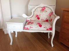 Telephone table painted and reupholstered by Furni-Chic