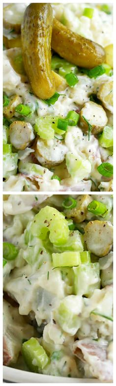 Dill Pickle Potato Salad ~ It is deliciously loaded with crunchy dill pickles in a zesty dill pickle juice infused dressing... A side that's going to be the hit of any summer bbq!
