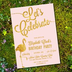Let's Celebrate Pink and Gold Birthday by SunshineParties on Etsy. So fun, love this theme! #PinkFlamingo #PinkAndGold #GoldFlamingo