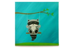 Raccoon Canvas Art - Colorful Woodland Nursery Art