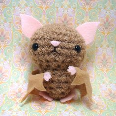 amigurumi crochet Bat- no pattern Crochet Bat, Cute Crochet, Crochet Animals, Crochet Crafts, Crochet Dolls, Yarn Crafts, Crochet Projects, Amigurumi Patterns, Crochet Patterns