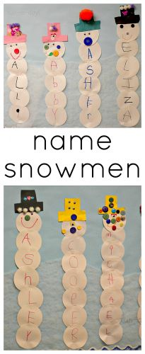 Name Snowmen Preschool Craft - Fun-A-Day! - work on counting and graphing, making choices of colors and reading
