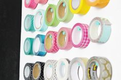 This simple organization tip also serves as DIY home décor! Showcase colorful rolls of Dollar Tree washi tape on your wall for a fun, brightly colored display.