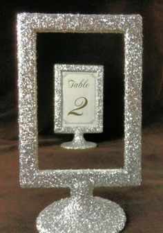 Silver Glitter Table Number Holders $64