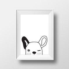 Baby Animal Art Animal Nursery Prints Dog от Petitestarsandclouds