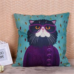 SOFO Cute Cartoon Cat Cushion Cover Dense Linen Square Throw Pillow Case Sofa Home Decor