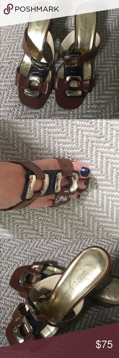 Marc Jacobs sandal Retro style patent sandal in brown and navy with gold detail Marc Jacobs Shoes Sandals