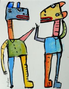 original HUGHART abstract outsider folk funky art lowbrow punk painting PAIRING #OutsiderArt
