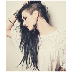 24 Dazzling Half Shaved Hairstyles ❤ liked on Polyvore featuring accessories, hair accessories and hair