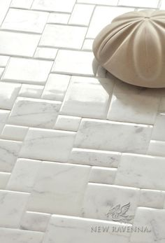 Versailles Tile Floor | New Ravenna Mosaics Bath Tiles, Bathroom Floor Tiles, Tile Floor, Marble Tiles, Calacatta Marble, Travertine Tile, Groutless Tile, Ravenna Mosaics, Tile Mosaics