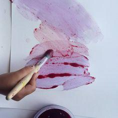 paint with berries.. pick, heat, mash, strain, paint 🍓
