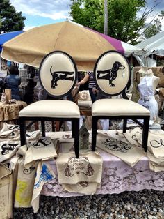 Brimfield Antique Show | Flea Market - Dogs - Dachshund graphic on burlap upholstered Empire-style chairs...very fun!