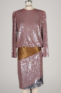 BILL BLASS Vintage Taupe Sequined Cocktail Dress Free Shipping 1980 S