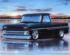 1964 65 66 Chevy C10 Fleetside Pickup Truck Art Print 11x14 64 1965 1966