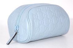 GUCCI 277652 BLUE LEATHER GUCCISSIMA GG LOGO COSMETIC TRAVEL MAKEUP BAG NEW. Get the lowest price on GUCCI 277652 BLUE LEATHER GUCCISSIMA GG LOGO COSMETIC TRAVEL MAKEUP BAG NEW and other fabulous designer clothing and accessories! Shop Tradesy now