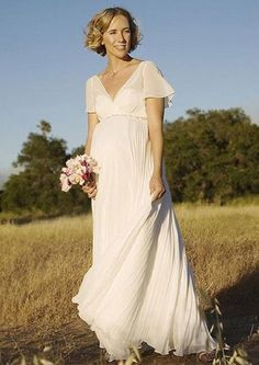 A-line V-neck Backless Short Sleeves Floor Length Chiffon Maternity Wedding Dress