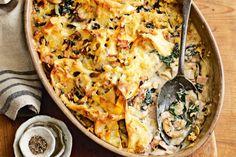 Silverbeet and mushroom pasta bake