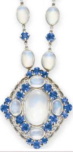 A MOONSTONE AND SAPPHIRE NECKLACE,  by Louis Comfort Tiffany, signed Tiffany & Co., circa 1915