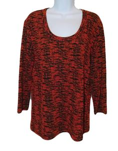 CHICO'S DESIGN Red & Black Acetate Blend Round Neck Top, Size 2, Med #Chicos #KnitTop