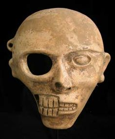 Mayan Half Skull/Half Face Mask - Origin: Guatemala Circa: 6 th Century AD to Arte Tribal, Tribal Art, Colombian Art, Half Skull, Maya Civilization, D Mark, Art Ancien, Art Premier, Mesoamerican